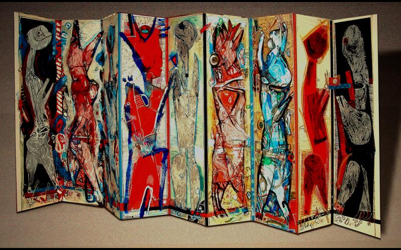 Die Kopierten (1994)<br>Leporello mit Copy Art Collage - Objektkunst