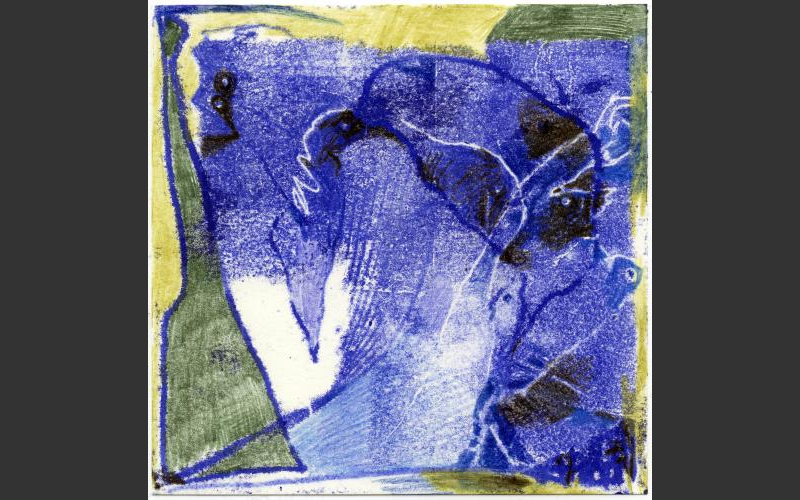 Blueprint № 7 2015<br />Monotypie, Farbstife auf Papier, 15 X 15 cm - BLUEPRINT