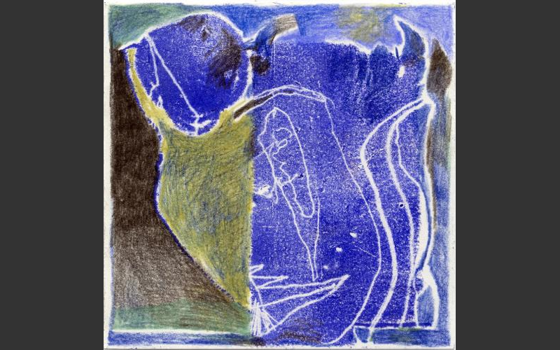 Blueprint № 18 2015<br />Monotypie, Farbstife auf Papier, 15 X 15 cm - BLUEPRINT
