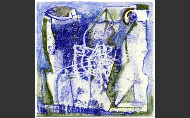 Blueprint № 21 2015<br />Monotypie, Farbstife auf Papier, 15 X 15 cm - BLUEPRINT