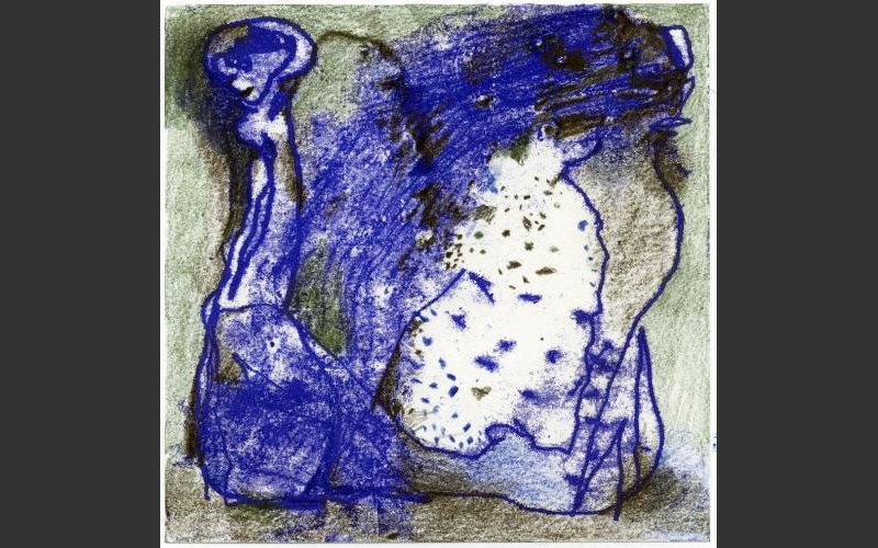 Blueprint № 24 2015<br />Monotypie, Farbstife auf Papier, 15 X 15 cm - BLUEPRINT